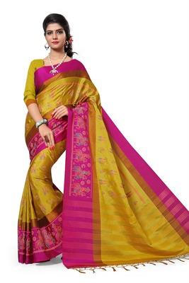 Light Yellow Printed Cotton Silk Saree With Blouse