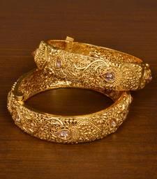 Copper Made Stone Embellished Designer Bangle Set for Women