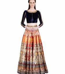 Multicolor self design art silk semi stitched lehenga