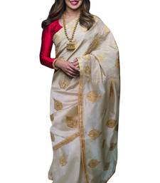 Buy White embroidered art silk saree with blouse women-ethnic-wear online