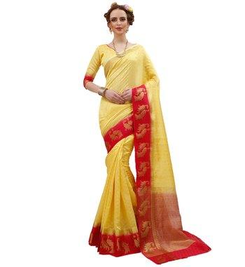 Indian Sari Saree /& Blouse Bollywood Party Wear Yellow Woven Crepe Silk 1378