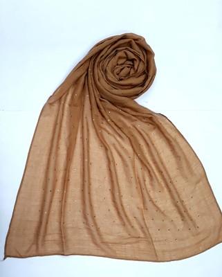 Brown cotton designer hijab stole for women