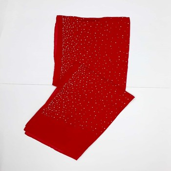 Red cotton designer hijab stole for women