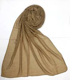 Brown cotton designer hijab stole for women