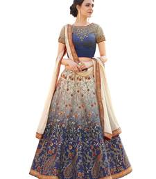 Blue satin silk embroidery lehenga with dupatta