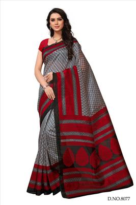 Grey printed bhagalpuri silk saree with blouse