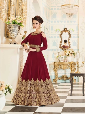 maroon embroidered pure georgette semi stitched salwar with dupatta