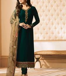 Dark-green embroidered pure georgette salwar
