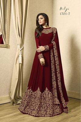 ebc26aa722e Maroon Embroidered Faux Georgette Anarkali Salwar Suit - TAGLINE ...