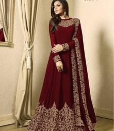 Buy Maroon Embroidered Faux Georgette Anarkali Salwar Suit anarkali-salwar-kameez online