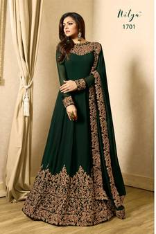 b3260a16f16 Green Embroidered Faux Georgette Anarkali Salwar Suit