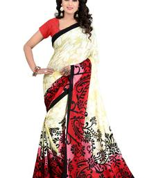 Buy cream printed georgette saree with blouse printed-saree online