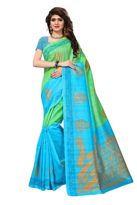Light green printed cotton silk saree  with blouse