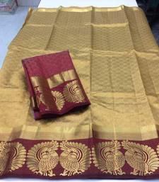 Buy Beige woven tussar silk saree with blouse tussar-silk-saree online