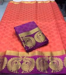 Buy Peach woven tussar silk saree with blouse tussar-silk-saree online