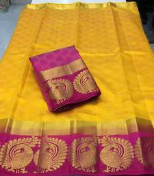 Buy Yellow woven tussar silk saree with blouse tussar-silk-saree online