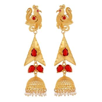 Peacock Designer Red And Golden Earring