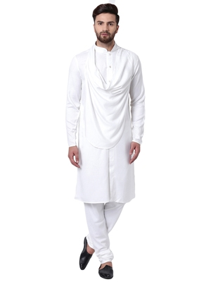 White Viscose Plain Men Kurta