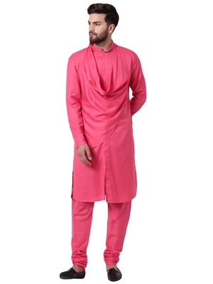 Pink Viscose Plain Men Kurta