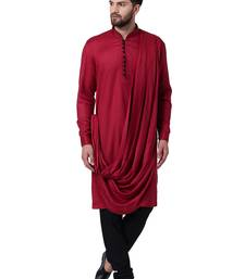 Maroon Viscose Plain Men Kurta
