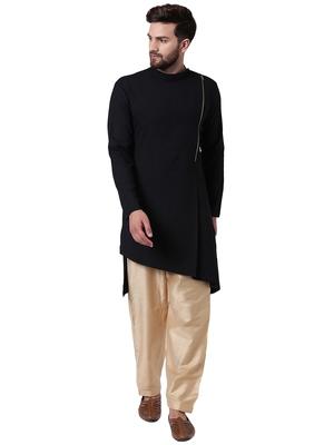 Black Cotton Silk Plain Men Kurta