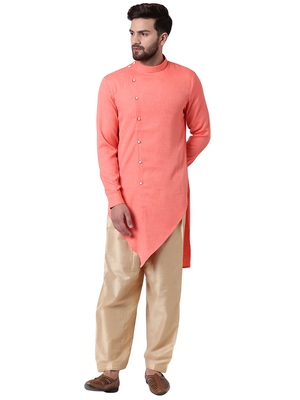Pink Cotton Silk Woven Men Kurta