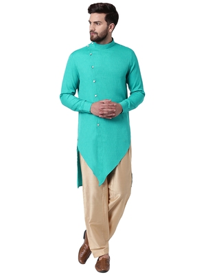 Green Cotton Silk Woven Men Kurta
