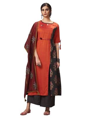 Red printed silk salwar with dupatta