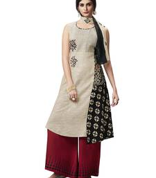 Off-white printed jute salwar with dupatta