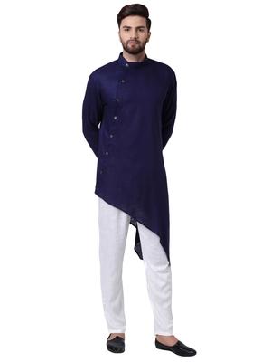 Blue Viscose Plain Kurta Pajama