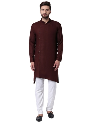 Brown Viscose Plain Kurta Pajama
