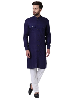 Blue Viscose Plain Kurta Pajama
