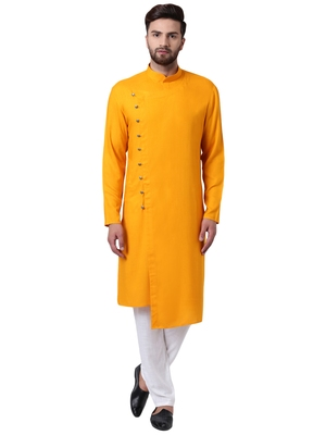 Yellow Viscose Plain Kurta Pajama