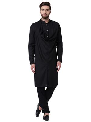 Black Viscose Plain Kurta Pajama