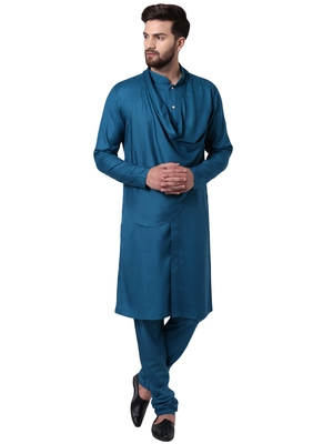 Green Viscose Plain Kurta Pajama