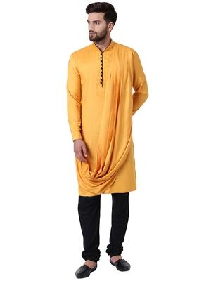 Yellow Viscose Plain Kurta Pajama