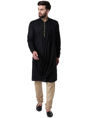 Black Viscose Plain Kurta Pajama