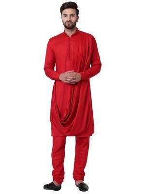 Red Viscose Plain Kurta Pajama
