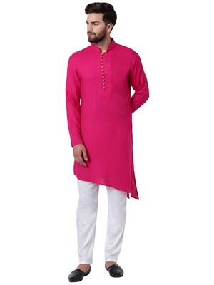 Pink Viscose Plain Kurta Pajama