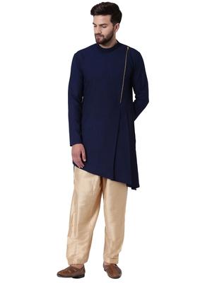 Blue Cotton Silk Plain Kurta Pajama