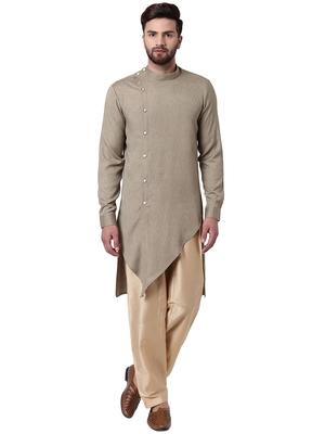 Beige Cotton Silk Woven Kurta Pajama