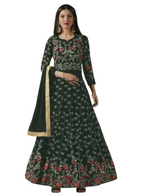 Green Embroidered Georgette Anarkali Salwar Kameez Wtih Dupatta