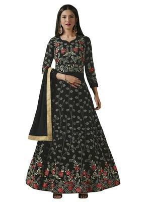 Black Embroidered Georgette Anarkali Salwar Kameez Wtih Dupatta