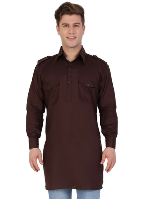 Brown Cotton Plain Men Kurta