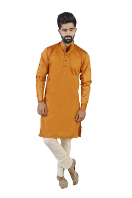 Orange Cotton Plain Men Kurta