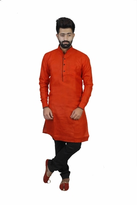 Red Cotton Plain Men Kurta