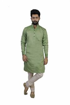 bcaabf8cfb6 Green Cotton Plain Men Kurta