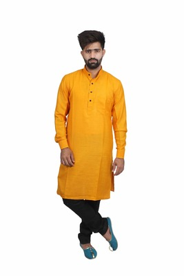 Yellow Cotton Plain Men Kurta