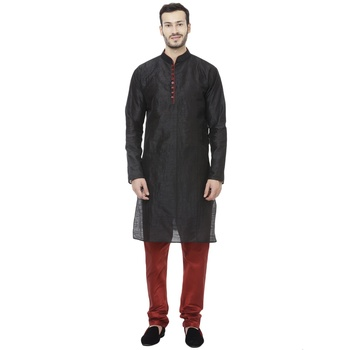 Black Dupion Silk Plain Men Kurta Pajama