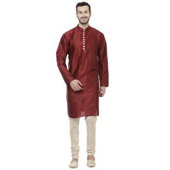 Maroon Dupion Silk Plain Men Kurta Pajama
